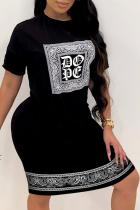 Black Casual Print Split Joint O Neck Pencil Skirt Dresses