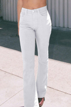 White Casual Solid Split Joint Regular Mid Waist Wide Leg Solid Color Bottoms