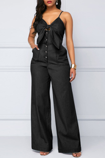 Black Casual Solid Split Joint Buckle Spaghetti Strap Loose Jumpsuits