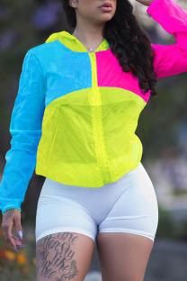 Yellow Polyester V Neck Long Sleeve Geometric Zippered Patchwork  rash guards