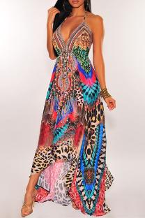 Pink Vintage Print Split Joint Spaghetti Strap Sling Dress Dresses
