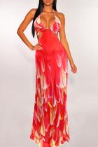 Red Sexy Print Split Joint Halter Printed Dress Dresses
