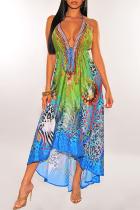 Blue Vintage Print Split Joint Spaghetti Strap Sling Dress Dresses