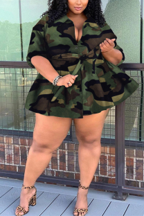 Big Camouflage Fashion Turndown Collar Cardigan Extra Large Bandigan Coat