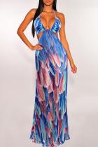 Blue Sexy Print Split Joint Halter Printed Dress Dresses