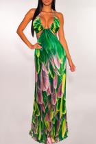 Green Sexy Print Split Joint Halter Printed Dress Dresses