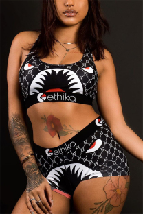Black Fashion Sexy Printed Vest Shorts Set