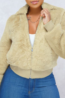 Apricot O Neck Solid Pure Long Sleeve Coats & Cardigan