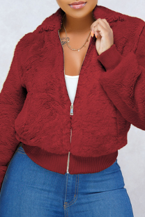 Wine Red O Neck Solid Pure Long Sleeve Coats & Cardigan