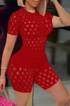 Red Sexy Solid Hollowed Out O Neck Short Sleeve Two Pieces
