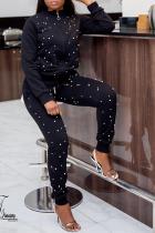 Black Zipper Fly Mid Dot pencil Pants Two-piece suit
