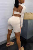 White Sexy Solid Hollowed Out One Shoulder Skinny Jumpsuits