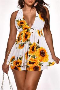 White Sexy Casual Print Backless V Neck Sleeveless Dress