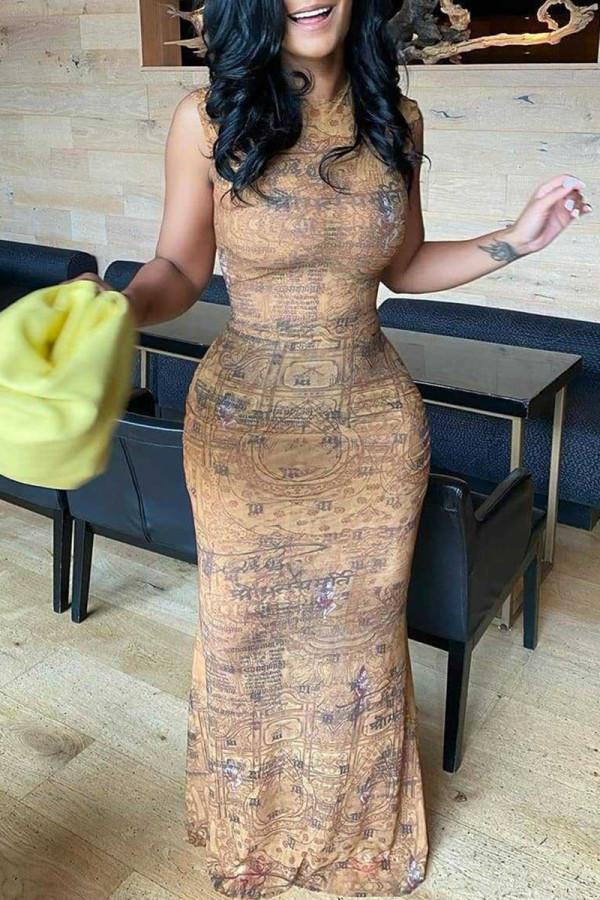 Khaki Fashion Sexy Print Basic O Neck Sleeveless Dress