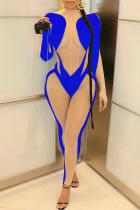 Blue Sexy Patchwork Mesh Half A Turtleneck Skinny Jumpsuits