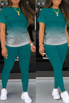 Dark Green Casual Gradual Change Split Joint O Neck Short Sleeve Two Pieces