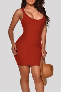 Burgundy Fashion Sexy Solid Basic O Neck Vest Dress