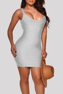 Grey Fashion Sexy Solid Basic O Neck Vest Dress