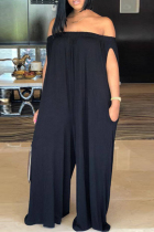 Black Fashion Casual Solid Backless Off the Shoulder Loose Jumpsuits