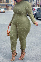Green Fashion Casual Solid Beading Half A Turtleneck Regular Jumpsuits