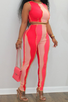 Red Sexy Color Block Split Joint O Neck Sleeveless Two Pieces