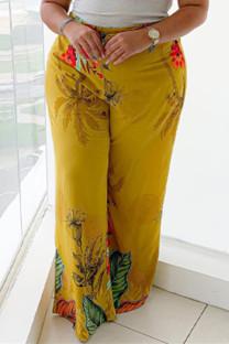 Yellow Fashion Casual Print Basic Plus Size Trousers