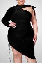 Black Fashion Sexy Plus Size Solid Hollowed Out O Neck Irregular Dress
