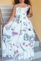 White Sexy Casual Plus Size Print Basic O Neck Sling Dress