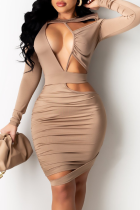 Khaki Sexy Solid Hollowed Out O Neck Pencil Skirt Dresses
