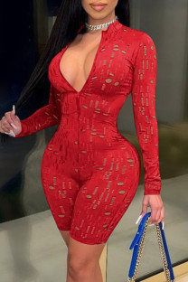 Red Fashion Sexy Solid Hollowed Out See-through Zipper Collar Skinny Romper