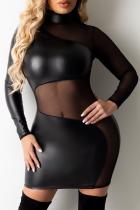 Black Sexy Patchwork Mesh Pencil Skirt Dresses
