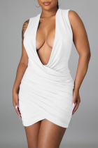 White Sexy Solid Split Joint V Neck Pencil Skirt Dresses