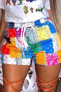 Yellow Fashion Casual Print Basic Plus Size Shorts