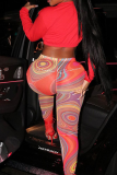 Red Sexy Print See-through Skinny High Waist Pencil Full Print Bottoms