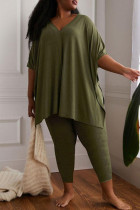 Green Fashion Casual Solid Slit V Neck Plus Size Two Pieces