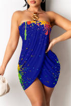Colorful Blue Sexy Print Backless Asymmetrical Strapless Sleeveless Dress