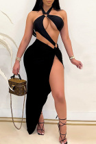 Black Fashion Sexy Solid Hollowed Out Backless Halter Sleeveless Two Pieces