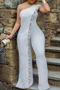 White Sexy Solid Sequins One Shoulder Skinny Jumpsuits