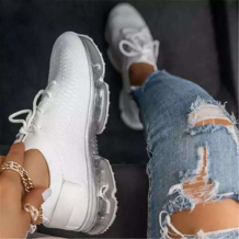 White Casual Sportswear Split Joint Solid Color Closed Sport Running Shoes