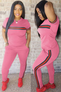 Pink Elastic Fly Short Sleeve Mid Print Patchwork Straight Pants Two-piece suit