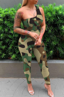 Green Sexy Casual Print Backless One Shoulder Skinny Jumpsuits