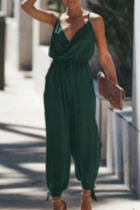 Green Casual Street Print Solid Draw String Backless V Neck Regular Jumpsuits