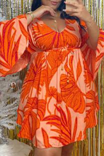Orange Fashion Casual Print Basic V Neck Long Sleeve Plus Size Dresses