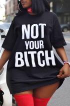 Black Fashion Sexy Street Letter Print Printing O Neck Plus Size Dresses