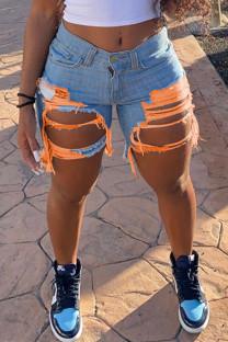 Orange Fashion Sexy Broken Hole Denim Pants