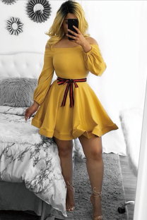 Yellow Vintage Off The Shoulder Long Sleeves One word collar Bud Mid-Calf