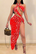 Red Fashion Sexy Print Hollowed Out Backless Swimwears Set