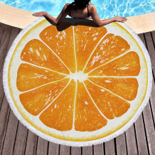 Orange Casual Party Print Tassel Split Joint Beach Mat