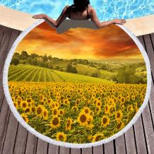 Yellow Casual Party Print Tassel Split Joint Beach Mat