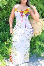White Sexy Casual Print Basic U Neck Vest Dress